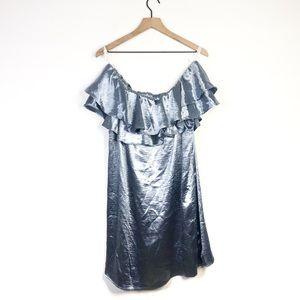 Forever 21 Satin Blue Ruffle Cold Shoulder Dress